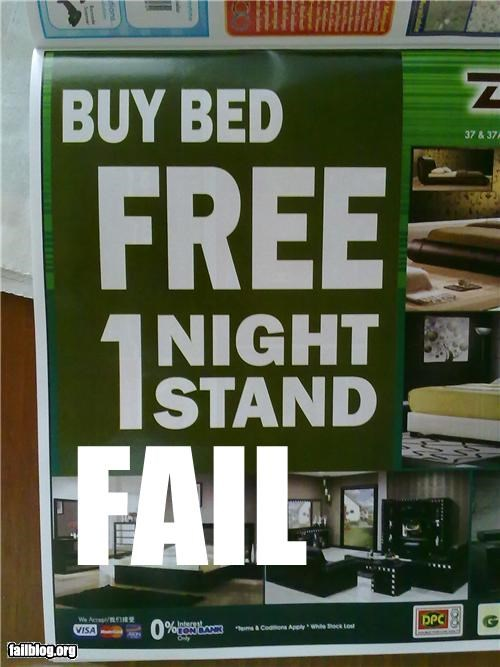 failboat,mattress,one night stand,promotion