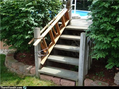 ladder,Mission Improbable,not intended use,pool,stairs,summer