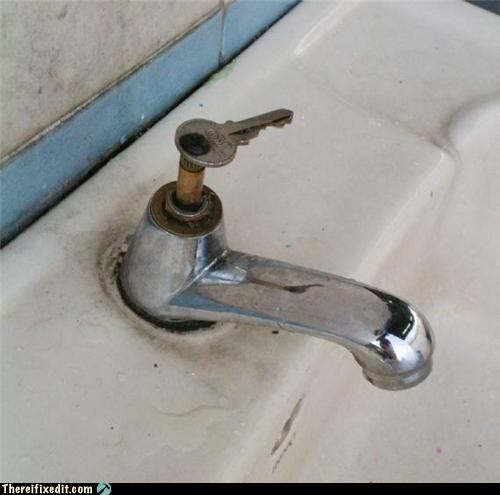 bathroom,faucet,key,not intended usse,recycling-is-good-right,sink