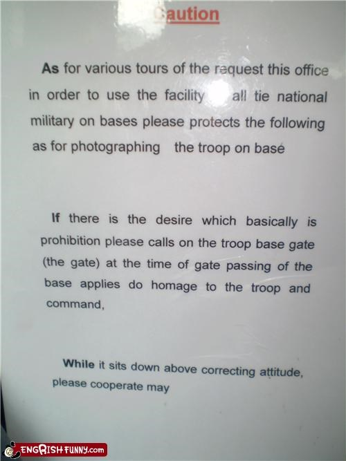 base instructions military sign Unknown