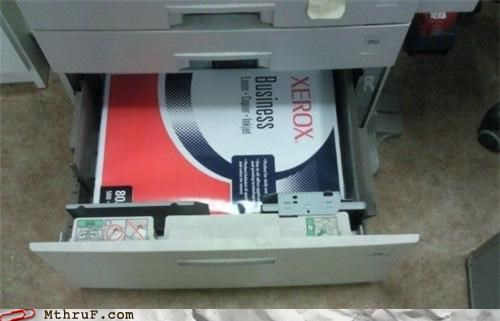 busted copy machine creativity in the workplace cubicle fail depressing derp dickheads dumb durr idiot lazy moron paper photocopier ream shortcut supplies work smarter not harder wrapping xerox - 3633547776