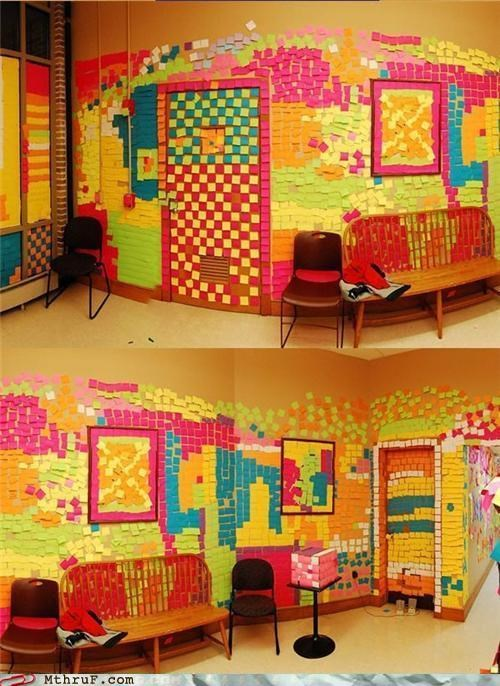 awesome boredom covered creativity in the workplace cubicle boredom cubicle prank decoration disaster drugs everywhere hallucinations mess neon omg peyote post it post its prank pwned screw you shingles wasteful wiseass wrapping