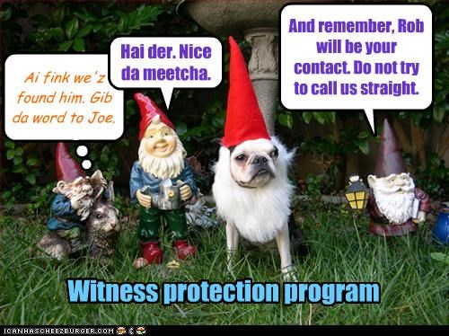 Witness protection program And remember, Rob will be your contact. Do not try to call us straight. Hai der. Nice da meetcha. Ai fink we'z found him. Gib da word to Joe.