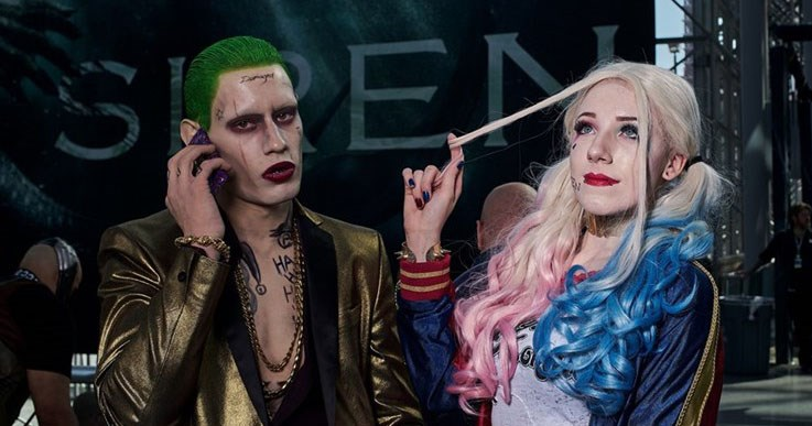 Photos of cosplayers at New York Comic Con in 2017, Harley Quinn, the joker x men, marvel, anime, disney, beauty and the beast.