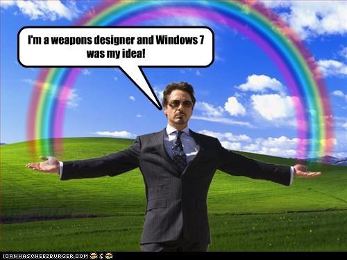 actor commercials iron man microsoft rainbows robert downey jr weapons windows - 3640551424