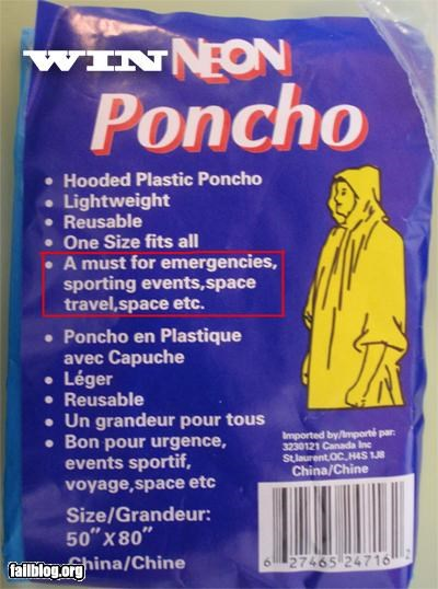 failboat g rated poncho space unrealistic - 3641414912