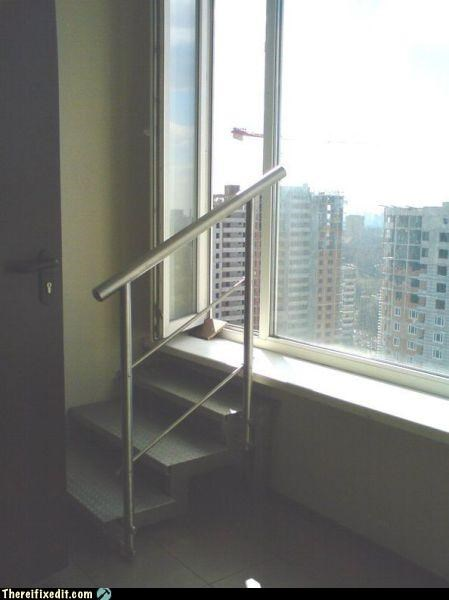 skyscraper stairs suicide window work - 3642861056