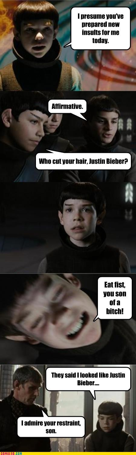 celebutard,celebutards,fighting Spock Star Trek,insults,justin beiber,kids,Star Trek