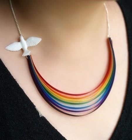 accessory,dove,etsy,necklace,peace,rainbow