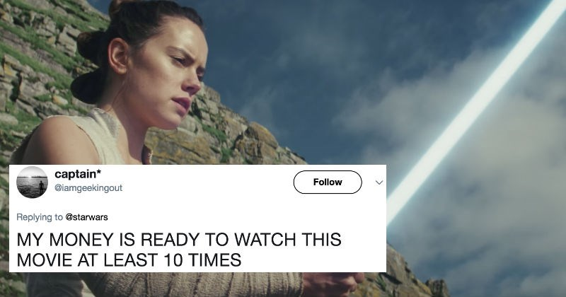 People react on Twitter to the new trailer for Star Wars: The Last Jedi.