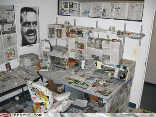 all-the-news-thats-fit-to-derp awesome co-workers not better luck next time boredom boring cubicle boredom cubicle fail cubicle prank decoration depressing dickhead co-workers heres-johnny jack nicholson mess Movie newspaper newsprint poster prank psycho recycle recycling Sad screw you tedious unoriginal wasteful wrapping - 3651711232