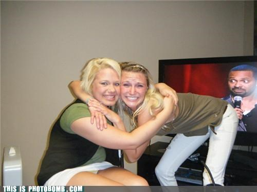 attention hug photobomb TV tv bomb - 3653622784