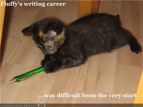 cute,kitten,writing