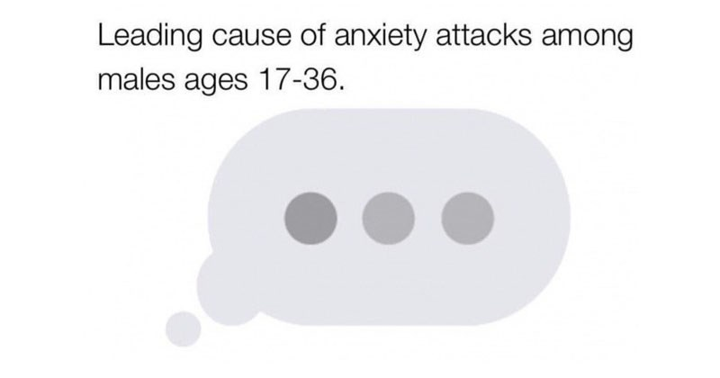 Funny memes about dogs, school, dating, disney, relationships, texting, gaming, video games, twitter, cats, cover photo is about how three dots from iphone cause anxiety.