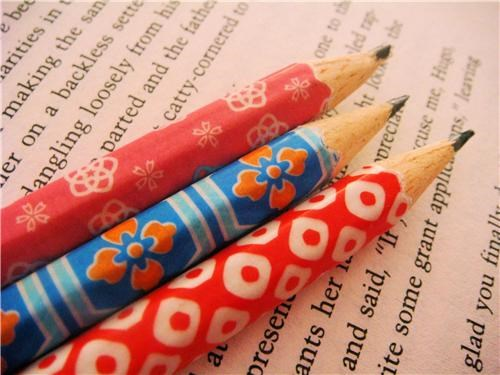 2 colorful cute-kawaii-stuff design handmade Office paper patterns pencils stationary unique - 3656434176