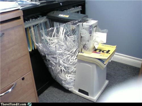 dual use,holding it up,laziness,Office,shredder