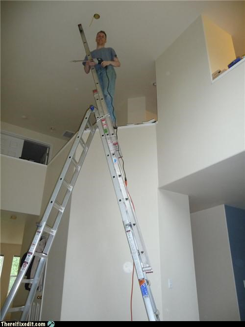 get down from there ladder tied together unsafe - 3660384512