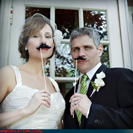 bride,facial hair,fake mustache wedding,fashion is my passion,funny wedding photos,groom,hipster couple,hipster marriage,how original,mustache,mustaches on sticks,surprise,were-in-love,Wedding Themes