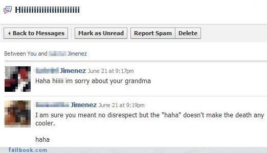 awkward laughs deaths grandma nice retort