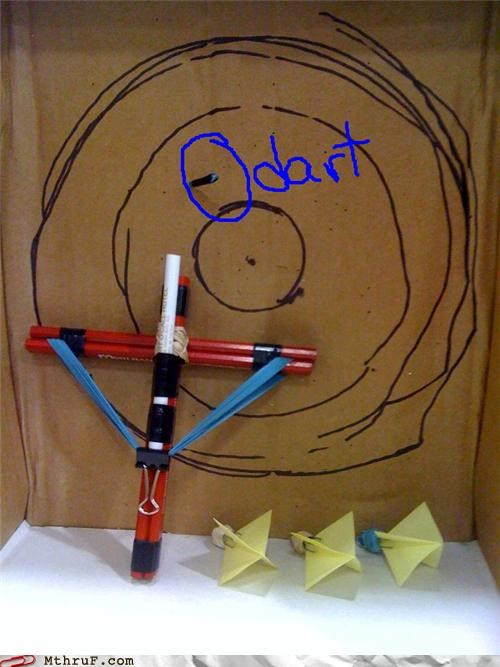 awesome boredom bullseye clever creativity in the workplace crossbow cubicle boredom dart darts decoration fired hardware ingenuity missiles osha passive aggressive projectiles target practice wasteful weapon wiseass with cause work smarter not harder youll-put-an-eye-out