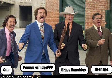 Gun Grenade Brass Knuckles Pepper grinder???