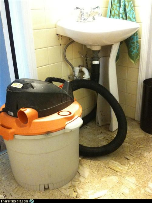 bathroom leak pipes plumbing shop vac - 3667933952