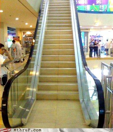 broken busted decoy escalator fake hardware lazy Sad screw you sneaky stairs trick wasteful work smarter not harder workout - 3668377856