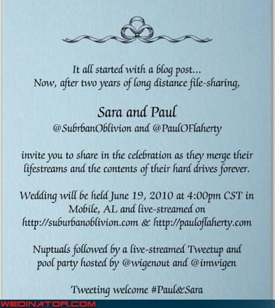adorable bloggers bride exchanging vows groom hashtag IRL lovebirds non-traditional online dating twitter urlesque Video were-in-love Wedding Themes - 3671237632