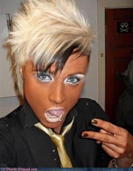 bad makeup bottle blondes Ganguro tanorexia - 3671300352