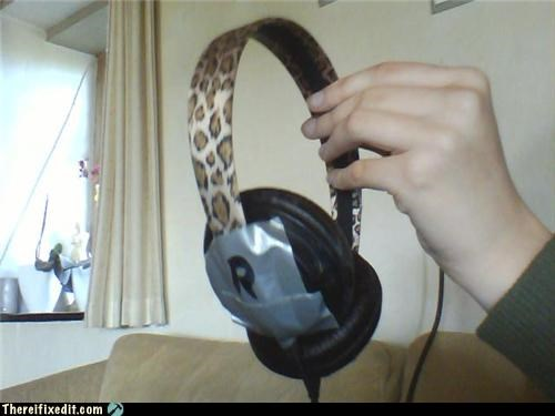 computer,headband,headphones,leopard print,recycling-is-good-right
