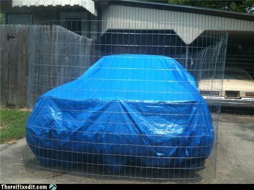 car,chicken wire,Mission Improbable,security,tarp