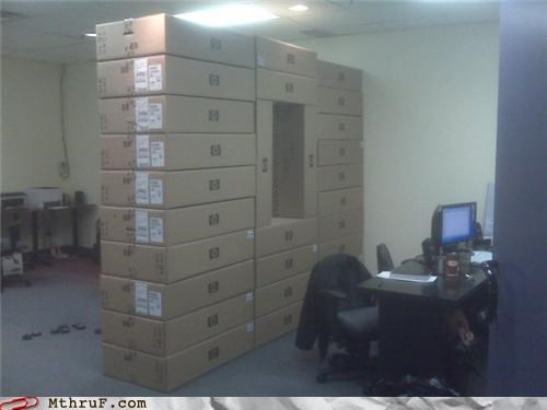 architecture awesome co-workers not boredom boxes cardboard clever creativity in the workplace cubicle boredom decoration ergonomics hardware ingenuity privacy recycle recycling repunzel screw you sculpture wall wiseass work smarter not harder - 3676739072