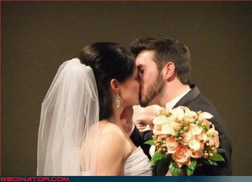 bride cheesy creepy creepy dude eww Grandpa groom hardly visible kissing officiant Olan Mills photobomb surprise were-in-love wedding ceremony weird wtf