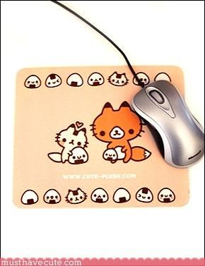 foxes,gadget,mouse pads,Office,onigiri