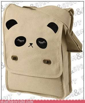 accessory bag canvas carry cute-kawaii-stuff panda strap tan - 3677249024