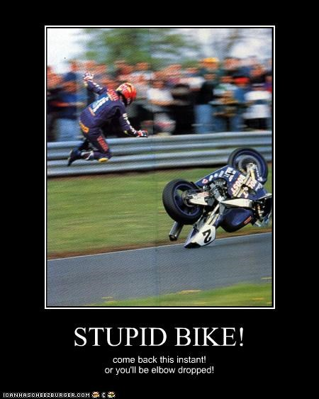 STUPID BIKE! come back this instant! or you'll be elbow dropped!