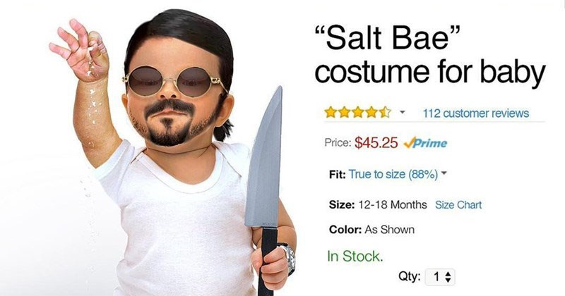Funny photoshop baby costumes for halloween, larry david, the rock, kim jong un, salt bae, post malone, cash me outside.