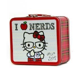 bag,glasses,hello kitty,lunch box,nerds,plaid