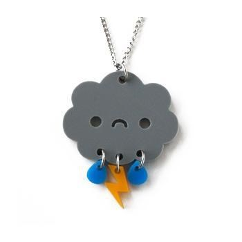 accessory cloud cute-kawaii-stuff Jewelry lightning necklace rain storm - 3678392832