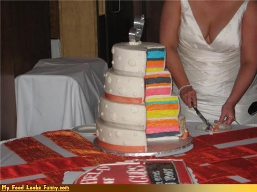 cake,cleavage,deceptive,sliced,Sweet Treats,wedding,wedding cake