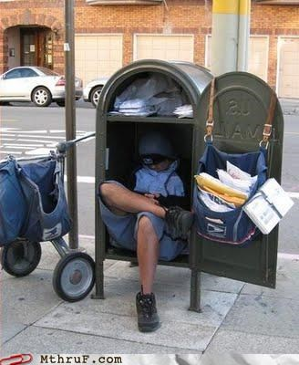 40 winks bum busted delivery depressing dickheads ergonomics fired junk mail Kodak moment lazy letters mail mail box mailbox mailman nap postal worker Sad screw you shut-eye sleeping sleeping on the job usps work smarter not harder - 3679772672