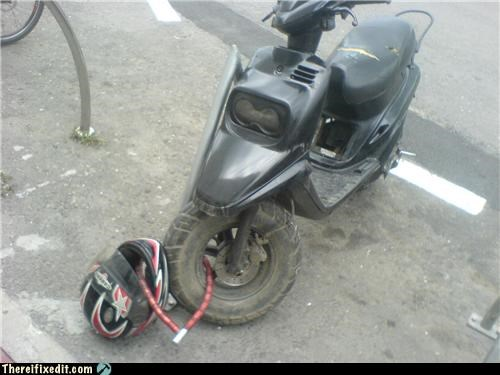 DIY,g rated,Hall of Fame,helmet,lock,motorbike,motorcycle,safety,security,there I fixed it