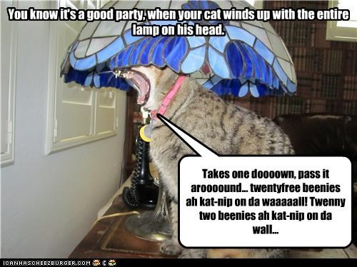 You know it's a good party, when your cat winds up with the entire lamp on his head. Takes one doooown, pass it aroooound... twentyfree beenies ah kat-nip on da waaaaall! Twenny two beenies ah kat-nip on da wall...