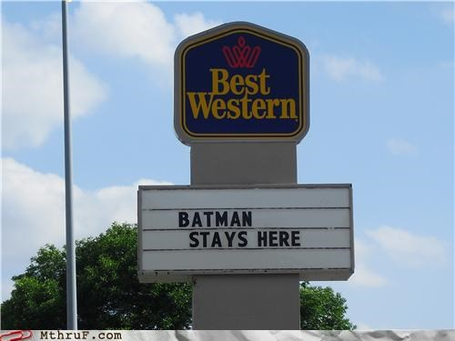 advertising awesome basement batman best western billboard boredom cave cave away from cave clever comic book comics creativity in the workplace cubicle prank decoration derp false advertising good marketing guano home away from cave hotel ingenuity lies marquee motel official sign prank room service sass sign signage smart marketing spotlight superhero wake-up call wiseass - 3686774272