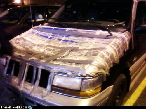 duct tape,hood,packing tape,unsafe,van