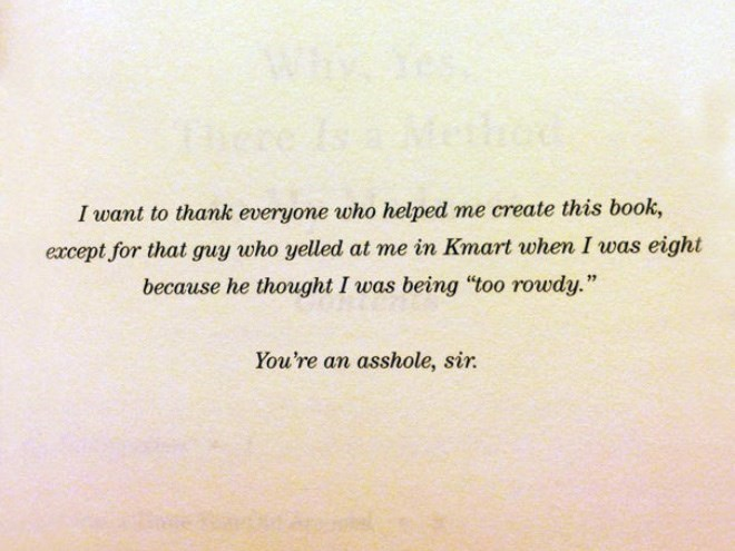 a funny list of book dedications from authors