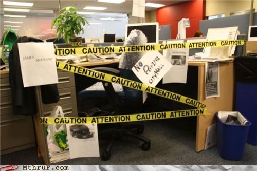 annoying,arts and crafts,awesome co-workers not,boredom,caution tape,creativity in the workplace,cubicle boredom,cubicle prank,decoration,depressing,dickhead co-workers,dickish,half-assed,hazard tape,lame,no parking,not clever,police tape,prank,sass,screw you,sculpture,uncreative,weak,wiseass