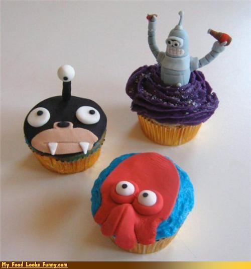 bender,cupcakes,futurama,nibbler,Sweet Treats,Zoidberg