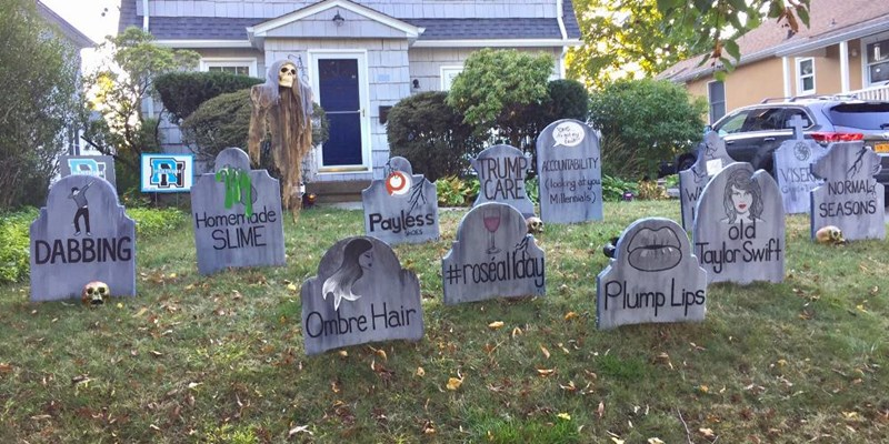 funny graveyard with all trends that died in 2017