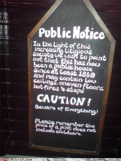 ancient bar basic instructions beer boredom chalkboard clever corny decoration derp drank drunk lock your kid in the car then get drunk no lawsuits please official sign pint pub public house sandwich board sass sign signage tourism tourists warning wiseass witty work smarter not harder